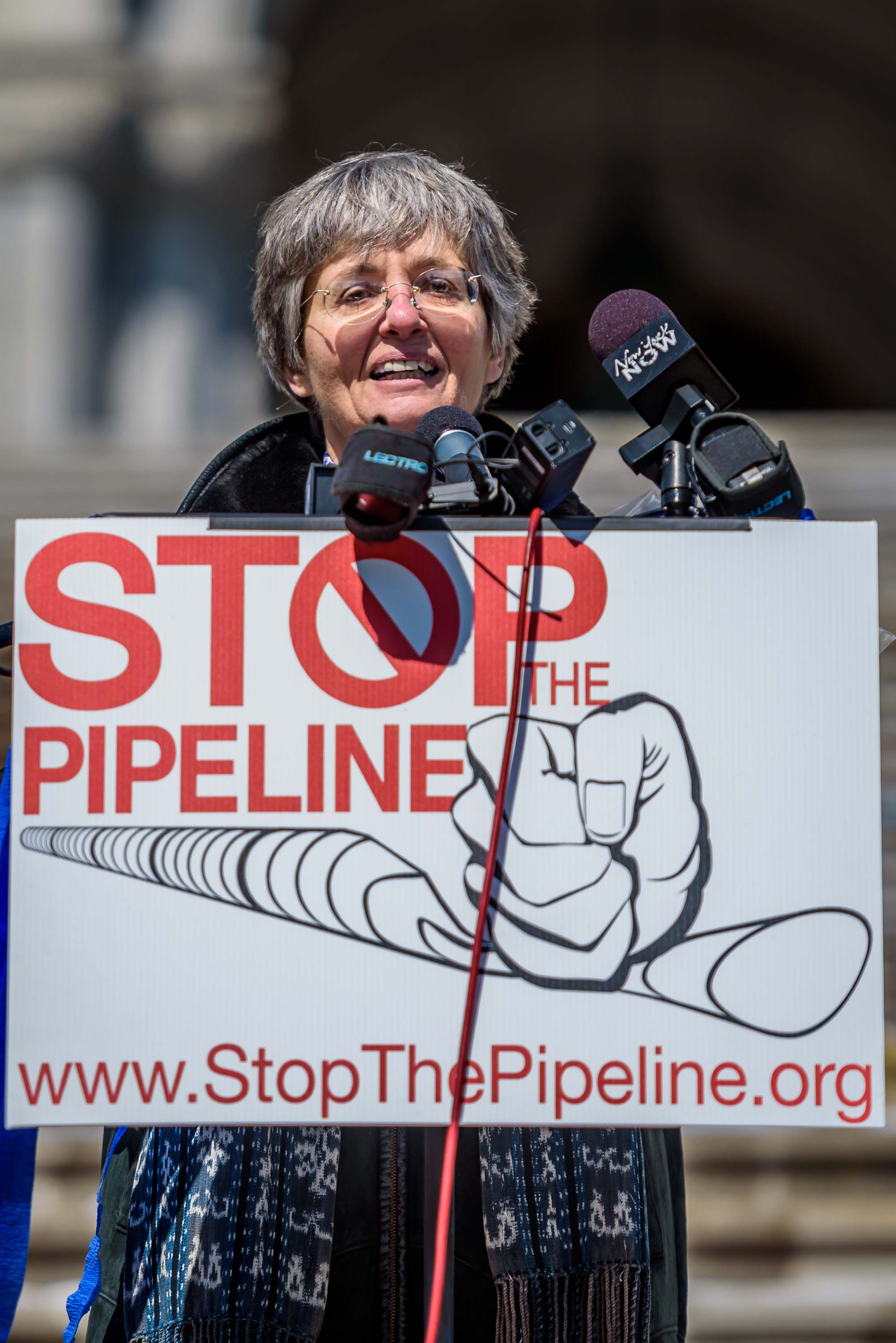 "Anne Marie Garti, a founding member of STP and an attorney volunteering with the Pace Environmental Litigation Clinic (PELC), which represents it. ""Just like we asked landowners to ""just say no"" to the pipeline company as a way to preserve their property rights, now we are asking our Governor to ""just say no"" to preserve the state's right to protect its water."""