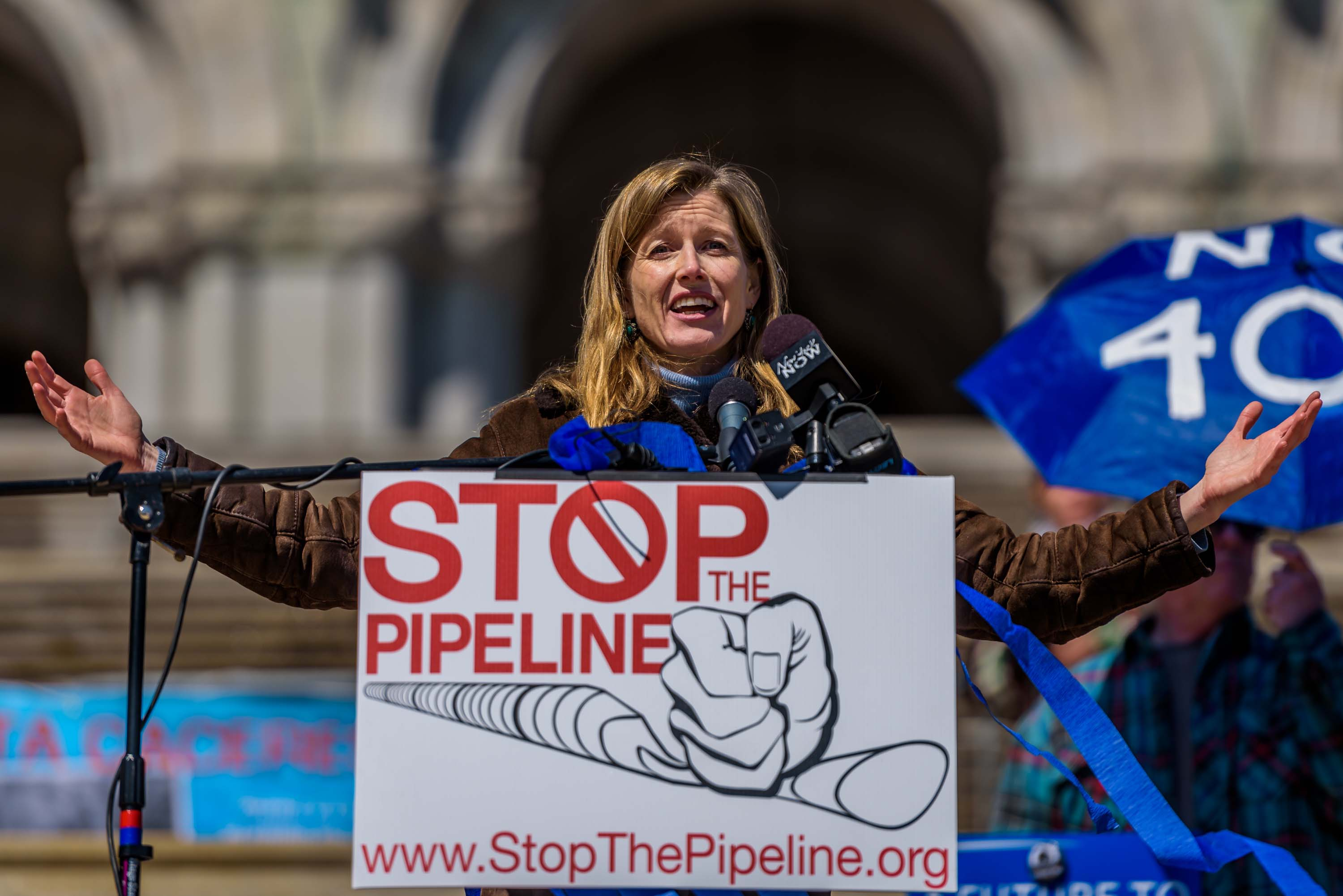 Karenna Gore, Director of the Center of Earth Ethics at Columbia University speaking at the rally to save NYS from FERC and to ask Governor Cuomo to protect NYS water by denying required water quality certificate for Constitution Pipeline